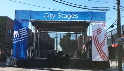 (2) 16' x 6' Stage Mesh Banners Left and Right, and (1) 4' x 37.5' Stage Header Mesh Banner